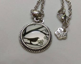 cabochon glass Bird on branch necklace