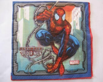 set of 2 spiderman paper napkins