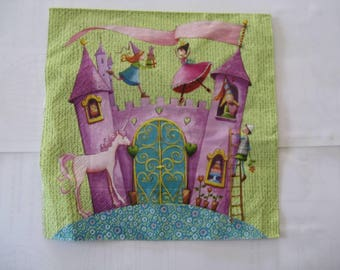 set of 2 napkins Castle, princesses, a bit of yesteryear