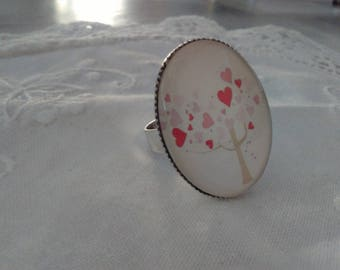 Ring adjustable oval with tree of life glass cabochon hearts