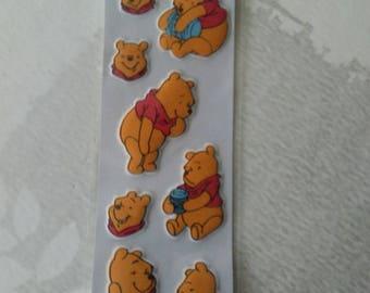 sheet of eight winnie embossed stickers