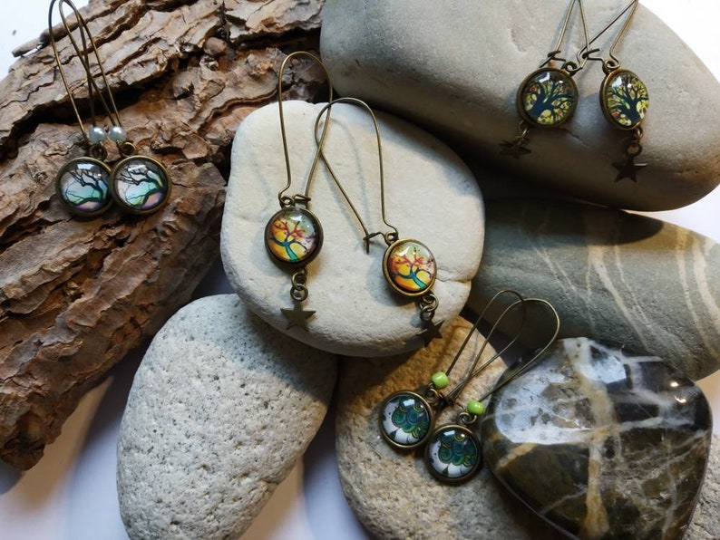 long earrings,protective life tree,55 mm maxi,cabochon 12mm glass,ear hook,pearls,French touch,woman,bronze star