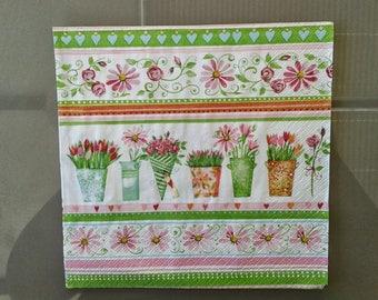 set of 2 spring flowers paper napkins