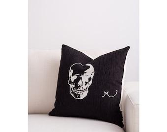 Designer Throw Cushion - Black with Large White Skull