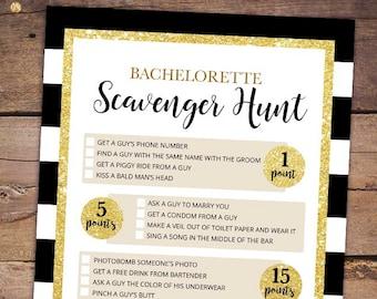 Scavenger Hunt Bachelorette Bridal Shower Game - Printable Black Gold Bridal Shower Game - Bachelorette Night Games - Hen Party 047