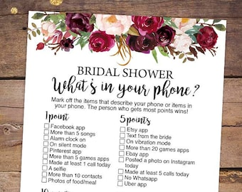 printable bridal shower games printable whats in your phone bridal shower game marsala bridal shower game burgundy bridal shower 045