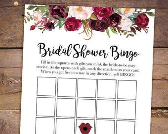 printable bridal shower games printable bridal bingo game burgundy bridal shower bingo game marsala bridal shower game 045