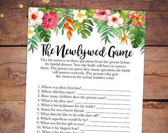 printable bridal shower games the newlywed game what did the groom say tropical bridal shower games luau bridal shower games 038