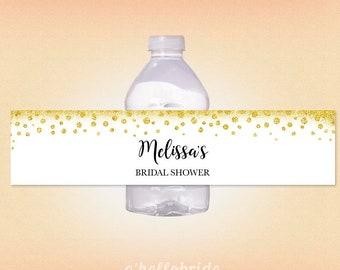 printable gold bridal shower water bottle labels gold confetti bridal shower labels gold glitter bridal shower 032