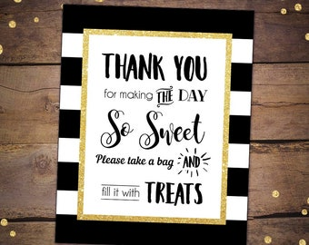 candy buffet sign candy table sign treats sign black gold bridal shower bridal shower table sign gold glitter bridal shower favors 047