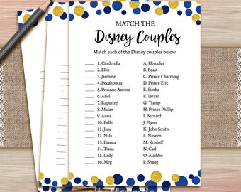 disney couples match game printable navy blue bridal shower love song game gold bridal shower party game bachelorette party games 010
