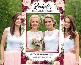 bridal shower photo booth frame burgundy bridal shower selfie photo booth frame bridal shower photo prop frame wedding photo prop 045