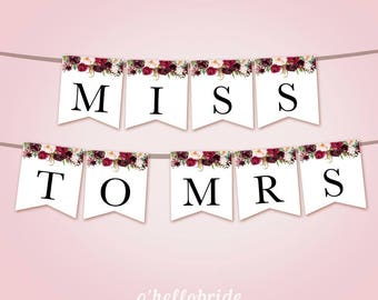 a8f55f4ddfa Burgundy Bridal Shower Banner - Red Floral Banner - Marsala Bridal Shower  Decoration - Wedding Bunting Red Bridal Shower - 045