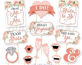 printable bridal shower photo booth props peach bridal shower peach floral bridal shower printable photo booth props 042