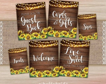 c9ae9075650 Printable Bridal Shower Welcome Sign Package - Printable Rustic Bridal  Shower Decorations - Sunflower Bridal Shower Signs 023