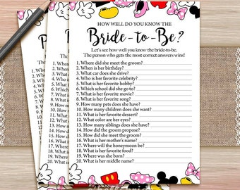 printable disney bridal shower games how well do you know the bride to be game who knows the bride best 009