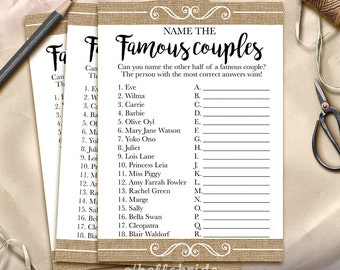 guess the famous couples bridal shower game name the famous couples printable rustic burlap bridal shower game bachelorette party 002