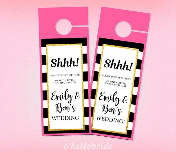 printable door hangers black gold pink wedding door hangers etsy
