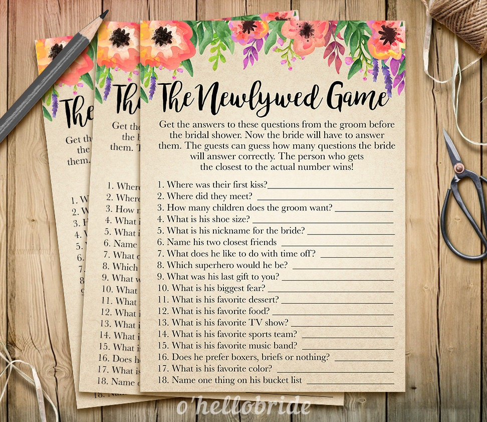 The Newlywed Bridal Shower Game What Did The Groom Say