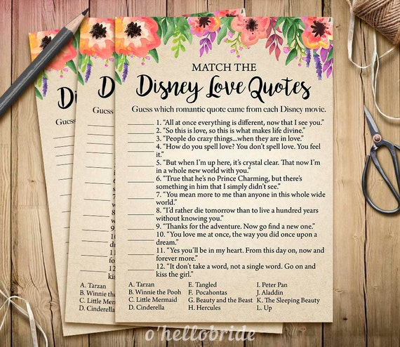 Disney Love Quotes Match Game Printable Floral Bridal Shower Etsy