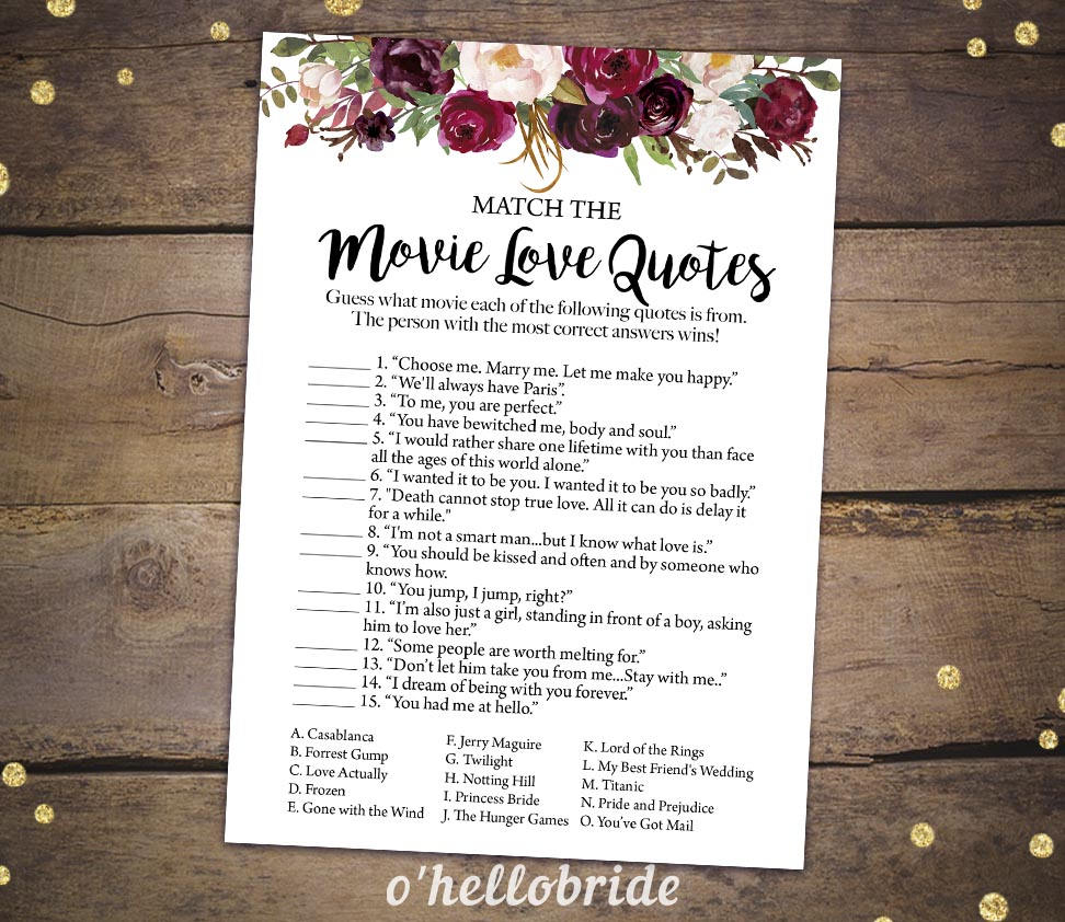 Printable Bridal Shower Games Printable Movie Love Quote