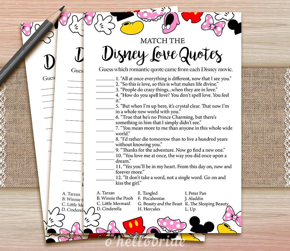 Disney Love Quotes Game Printable Disney Bridal Shower