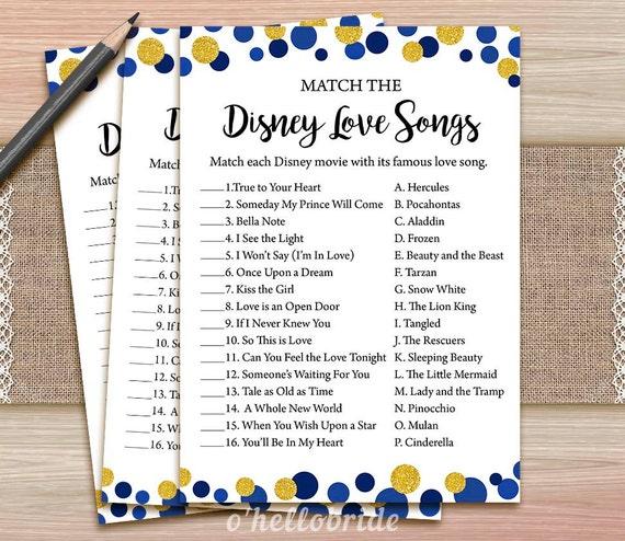 Disney amor canciones despedida de soltera juego juego de | Etsy