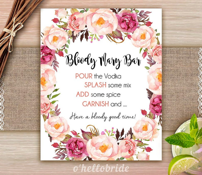 picture relating to Printable Bridal Shower Signs named Printable Bridal Shower Signs and symptoms - Bloody Mary Bar Signal - Bohemian Bridal Shower Indicator - Boho Bridal Shower Signal - Purple Floral Bridal Shower 039
