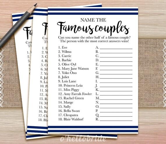 Nombre de la noche de despedida de soltera de parejas famosas | Etsy