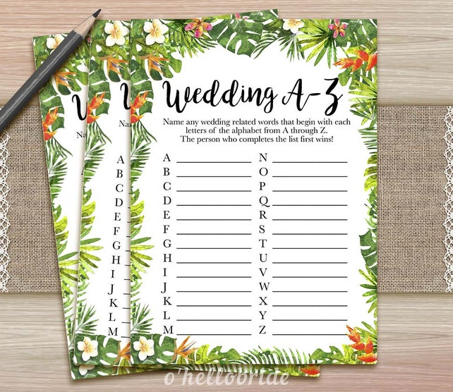 image relating to Printable Luau Party Games titled Wedding ceremony A-Z Bridal Shower Match - Printable Tropical Bridal