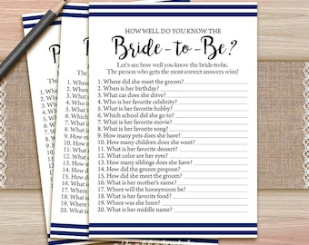 navy blue bridal shower how well do you know the bride to be game printable