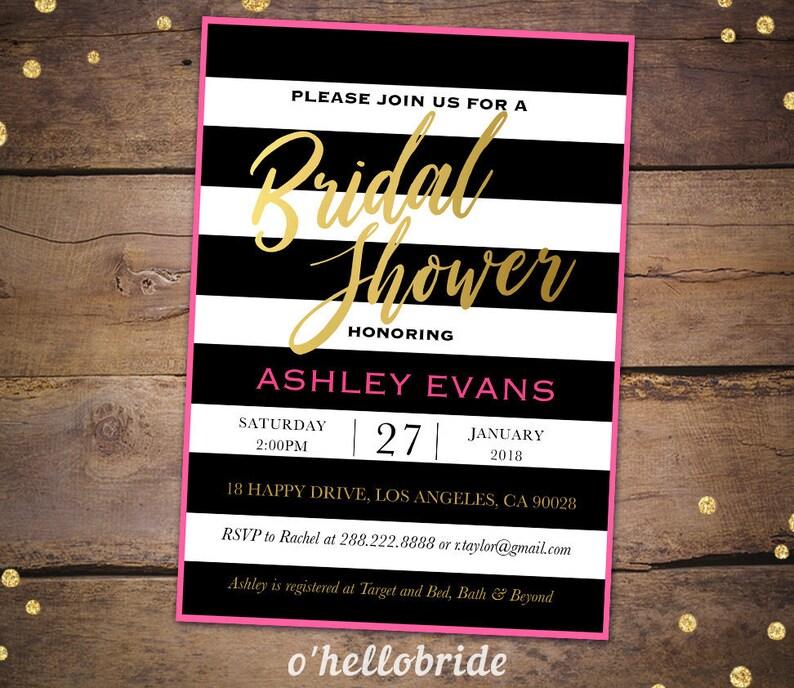 592d58aec6c14 Pink Gold Bridal Shower Invitation Printable - Black White Pink Gold Bridal  Shower Invitations - Bachelorette Party Invitations 014