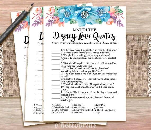 Disney Liebe Zitate Legespiel Druckbare Blau Floral Brautdusche Liebe Zitate Spiel Blau Brautdusche Spiel 033