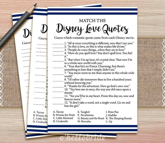Disney Love Quotes Match Game Printable Navy Blue Bridal Etsy