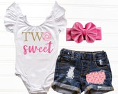 Baby Girl Donut 2nd Birthday Outfit Donut Second Birthday Outfit, First Birthday Leotard Cake Smash Outfit Two Sweet Distressed Denim Shorts