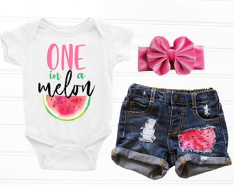 3b740e943 One in a Melon First Birthday Outfit Melon Birthday Shirt Girl Birthday  Shirt Watermelon Birthday Girls 1st Birthday Outfit Distressed Denim