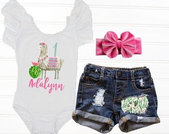 69c1239de5837 Llama First Birthday Outfit Girl Fiesta First Birthday Outfit Cactus  Birthday Outfit, Birthday Leotard, Baby Girl Denim Shorts Llama Leotard