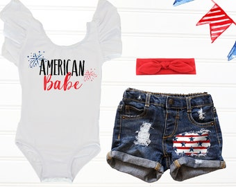 0eb19c26 American Babe Fourth of July Outfit, Baby's First 4th of July, Independence  Day Outfit, Stars and Stripes Distressed Denim Shorts