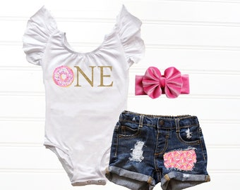 83ab7f6fa4375 Baby Girl Donut First Birthday Outfit, Donut 1st Birthday Outfit, First  Birthday Leotard Cake Smash Outfit Baby Girl Distressed Denim Shorts