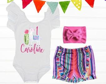 9bf75a0f0fb Llama First Birthday Outfit Girl Fiesta First Birthday Outfit Cactus  Birthday Outfit, Serape Birthday Outfit, Serape First Birthday Outfit