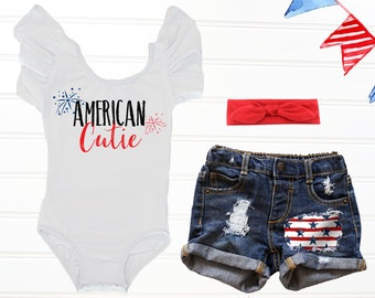 51ec3e45d American Cutie Fourth of July Outfit, Baby's First 4th of July, Independence  Day Outfit, Stars and Stripes Distressed Denim Shorts