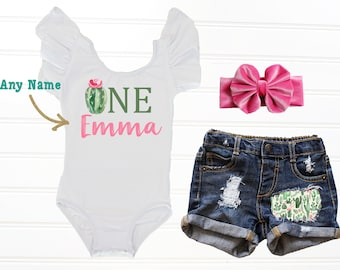 e380c4bf2 Cactus First Birthday Outfit, Girl Fiesta First Birthday Outfit, Succulent  Birthday Outfit, Birthday Leotard, Baby Girl Denim Shorts