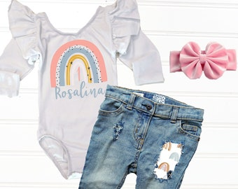 Baby Girl First Birthday Outfit, Pink Boho Rainbow 1st Birthday Outfit, Rainbow Distressed Denim Jeans