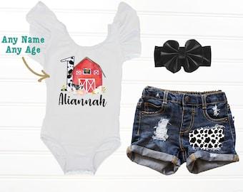 9c2218a142 Girls Barnyard First Birthday Outfit, Cow Print Birthday Outfit, Farm  Animal 1st Birthday Set, Country First Birthday, Baby Denim Shorts