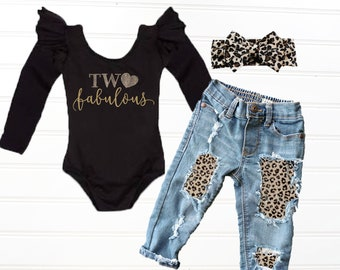 Girls Two Fabulous 2nd Birthday Outfit Baby Girl Second Wild Leopard Clothing
