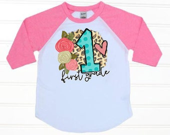 bc941afc5ad First Day Of First Grade Shirt 1st Day of School Shirt Leopard Shirt Girl  First Day Shirt Back to School Shirt, First Day of 1st Grade Shirt