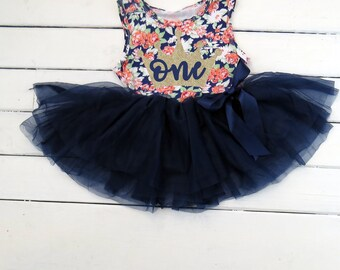 8792920e4 First Birthday Outfit, Navy and Gold Floral Tutu Dress, 1st Birthday Outfit,  Tutu Dress, Navy Floral Birthday Outfit, Cake Smash Bday Outfit