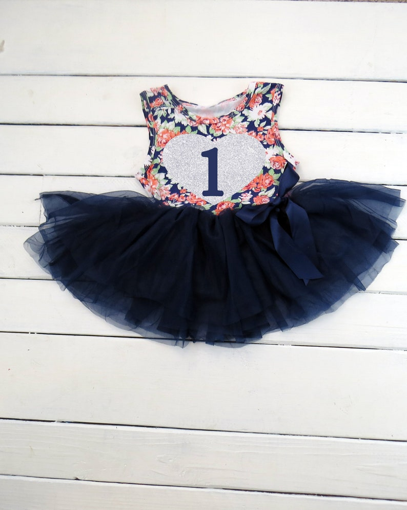 5fad632dc First Birthday Outfit Navy Floral Tutu Dress 1st Birthday   Etsy