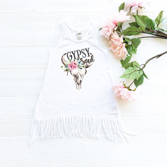 Two Shirt Dress,Baby Girl Clothes,Hippie Baby Clothes,2nd Birthday Girl Dress Floral Wreath Second Birthday Fringe Dress Boho Baby Clothes