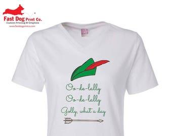 "Robin Hood Disney ""Oo-de-lally"" V-neck T-shirt"